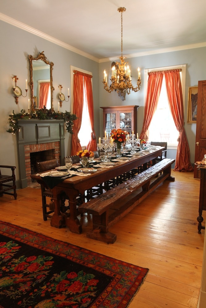 This is where we eat all of our meals. This table is from a monastery in Indiana from the 1800's.