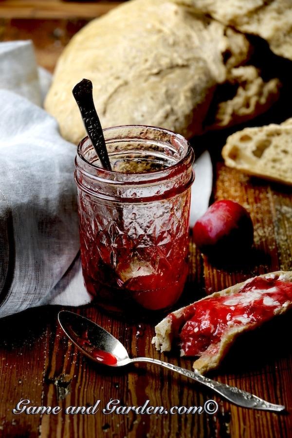 Plum jam atop homemade bread: a combination hard to beat.