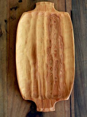 The amazing wood hand chosen and hand hewn for this platter is River Reclaimed Sinker Cypress recovered from the Alabama River.