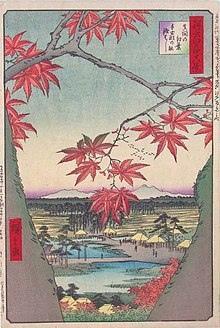 Гравюра. Утагава Хиросигэ «Кленовые листья в Мама» из цикла «Сто знаменитых видов Эдо»
