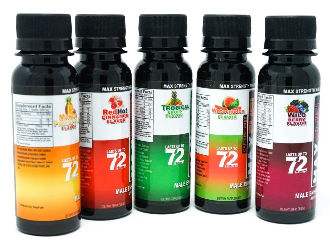 A collection of Manfuel Male Enhancement shooters in five flavors offered by gamechangerproductsllc.com.