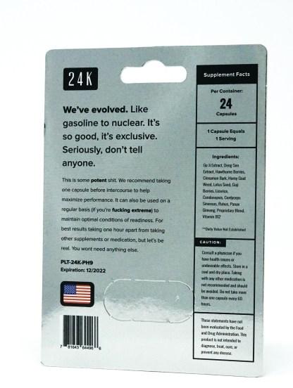 Platinum 24-K Male Enhancement Blister Pack Backside