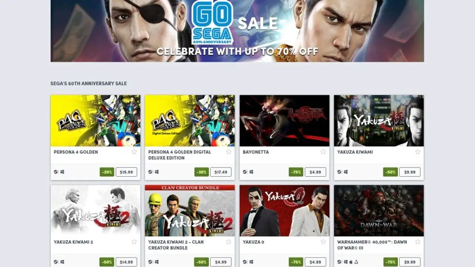 Humble Store Sega 60th Anniversary Sale