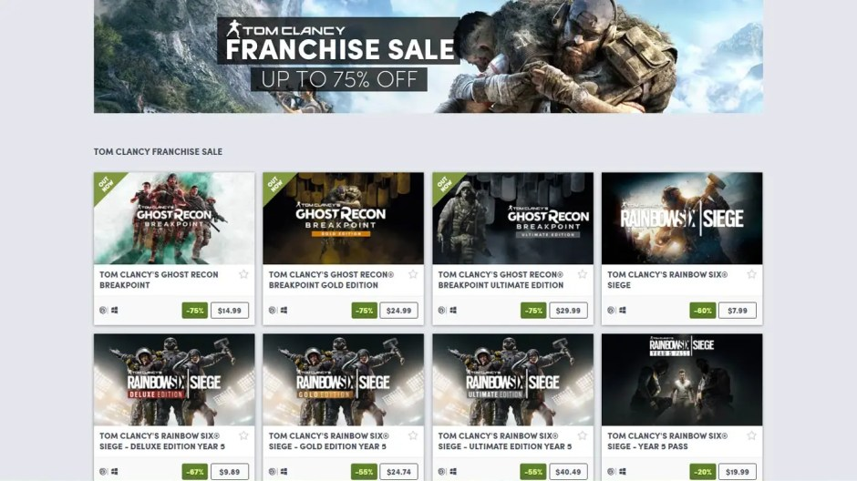 Tom Clancy Franchise Sale Humble Store