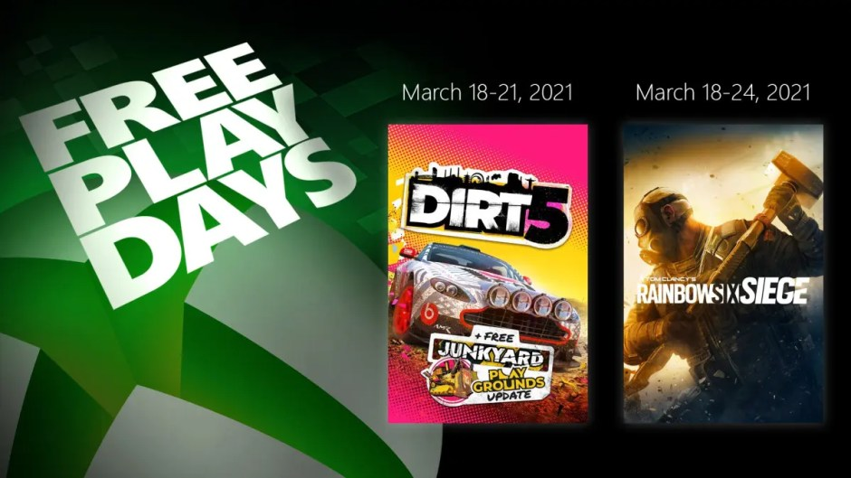 Xbox Free Play Days: Dirt 5 and Tom Clancy's Rainbow Six Siege