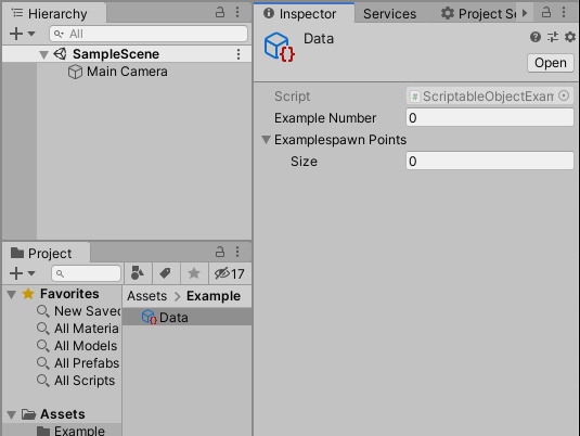 The creation of a new Unity Example Scriptable Object Creation