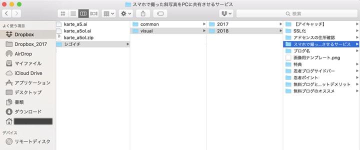 DropboxのフォルダにMacパソコンのファインダーからアクセスしたときの画面