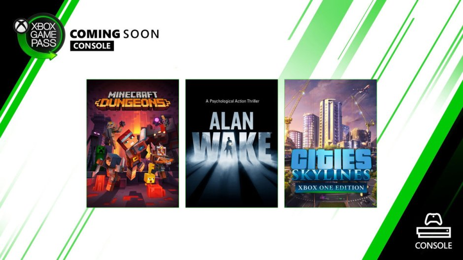 Xbox Game Pass Alan Wake, Minecraft Dungeons, Cities: Skylines