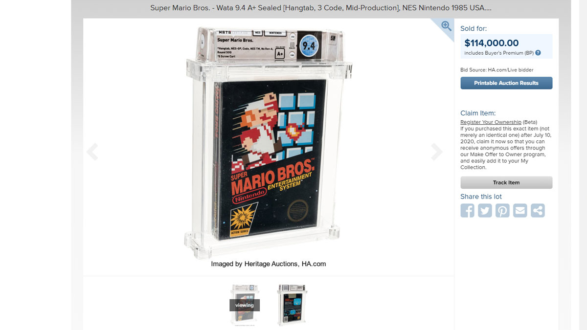 $114000 Bid for Super Mario Bros