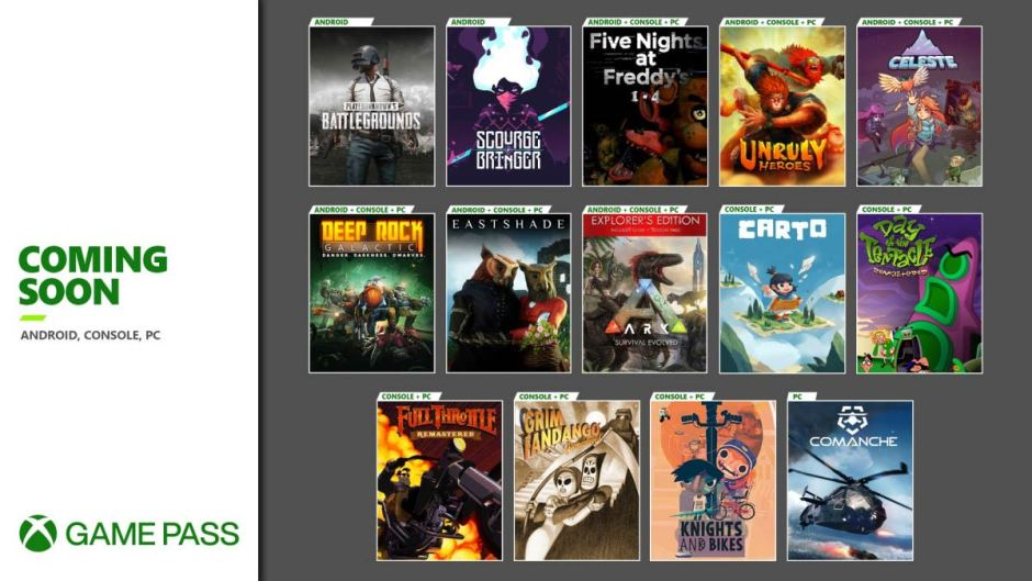 Celeste, Grim Fandango Remastered, Xbox Game Pass