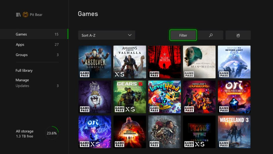 November Xbox console update Optimized for Series X|S tags