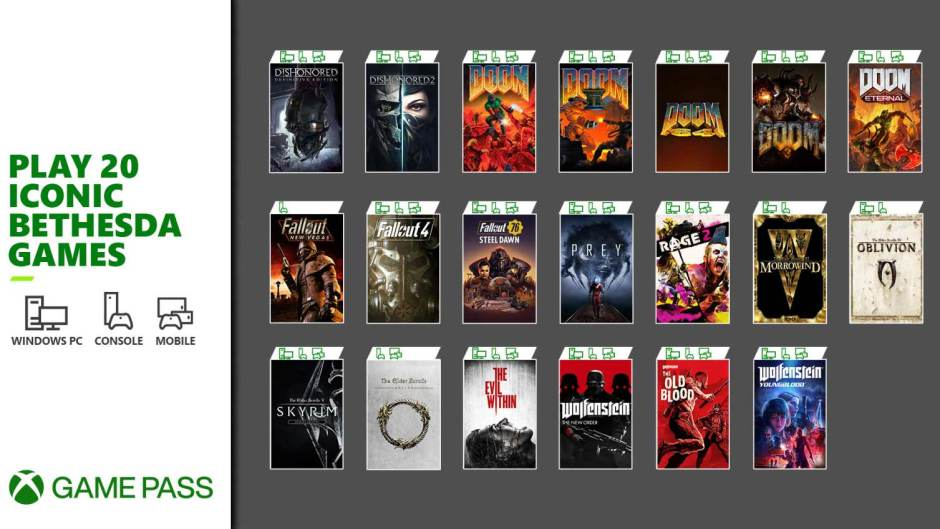 20 Bethesda titles are coming to Xbox Game Pass tomorrow