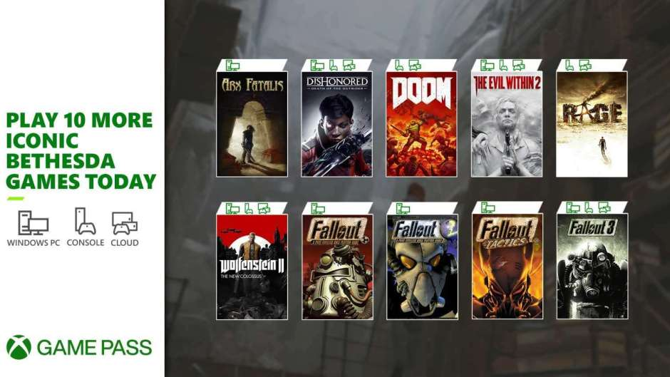 Bethesda adds 10 more games to Xbox Game Pass