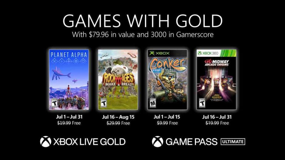 Xbox Live Games with Gold July 2021