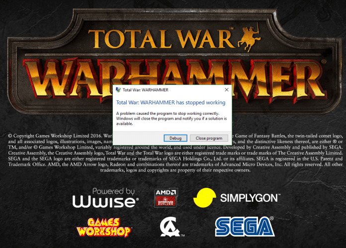 total war warhammer 2 crashing