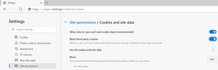 Site Permissions Cookies and Site Data