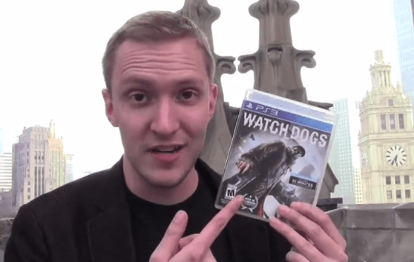 Cody  unboxing Watch Dogs for PS3 on the roof of Tribune Tower in downtown Chicago