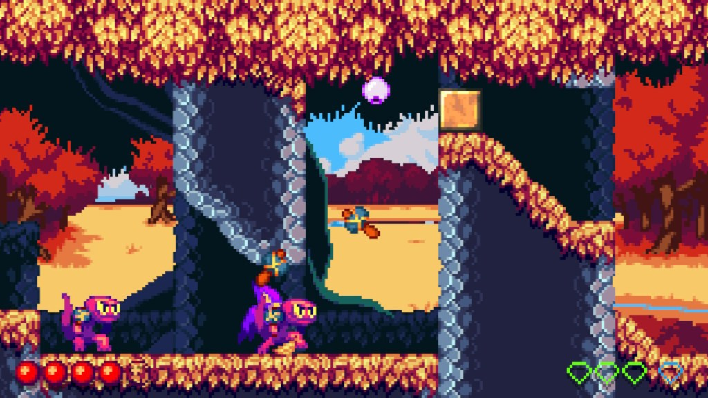 Autumn forest with lizard enemies