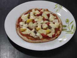 Crispy vegetarian tortilla pizza