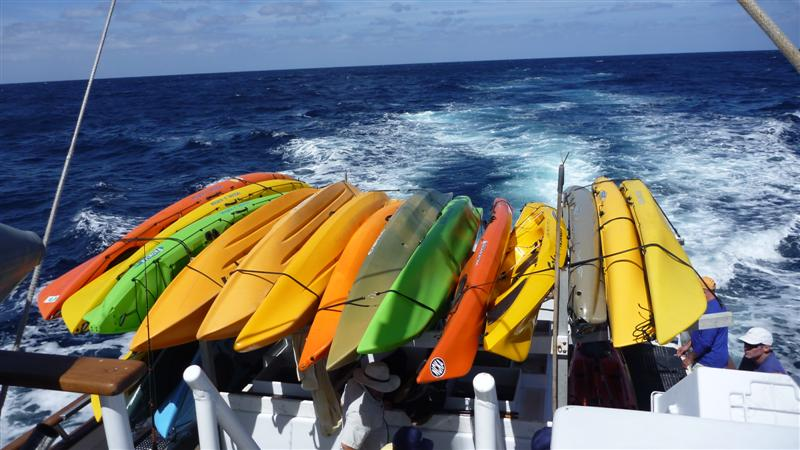 Islander with a full load of kayaks