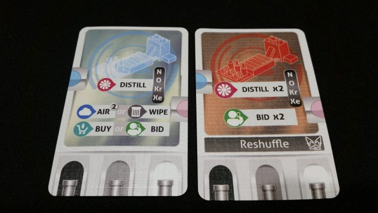The two sides of your air-separation facility card. The Overtime side lets you distill twice, which is powerful, but severely limits your other actions and can't be used 2 turns in a row.