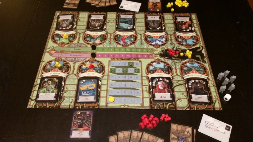 Set up for 2 players, A Study In Emerald has a few really interesting, unique twists.