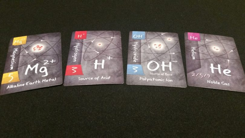A spread of some of the charged ion cards, as well as one noble gas. Personally, I love the stark art style throughout the game.