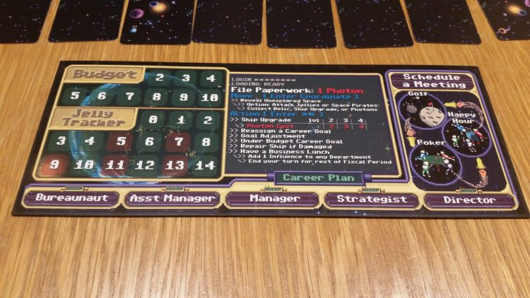 The player boards have everything you need to know at a glance...assuming you've committed the corporate handbook to memory.
