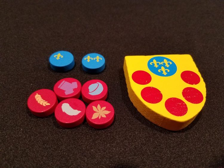 Commodity, round, and first player tokens.