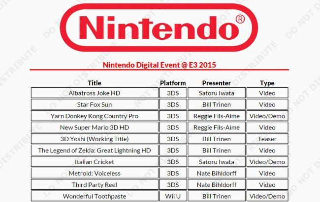 Nintendo E3 2015 rumor (2)