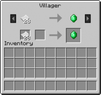 The trading interface displaying  trade of paper for emerald also  official minecraft wiki rh minecraftmepedia