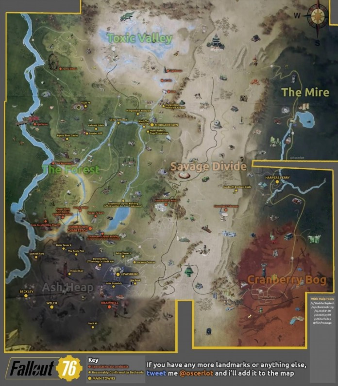Gamers Have Collected The Entire Map Of Fallout 76Game
