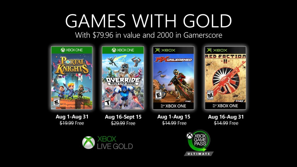 New Games with Gold for August 2020