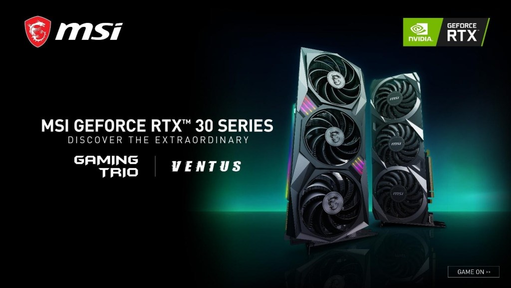 MSI RTX 3000 Series GPUs revealed with a livestream coming Sep. 2