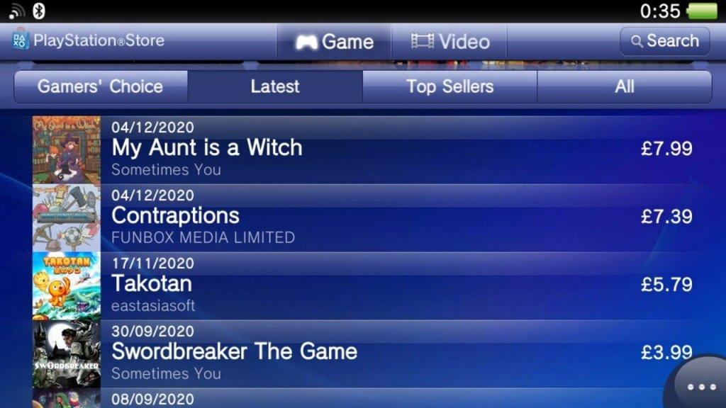 New Releases on PS Vita's Store Updated for First Time in Eons