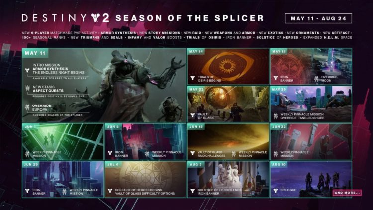 Destiny 2 Season Of The Splicer Guide Everything You Need To Know Mithrax Vault Of Glass Calendar