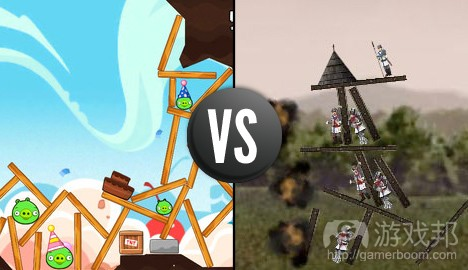 angry birds vs Crush the Castle(from ign.com)