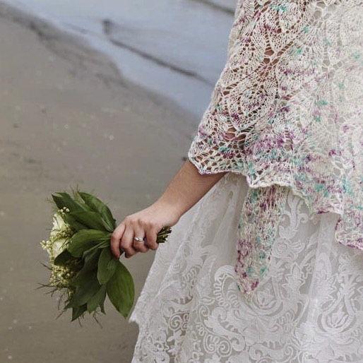 Variegated hand dyed wedding shawl yarn