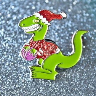 Christmas Raptor Knitting enamel pin with glitter