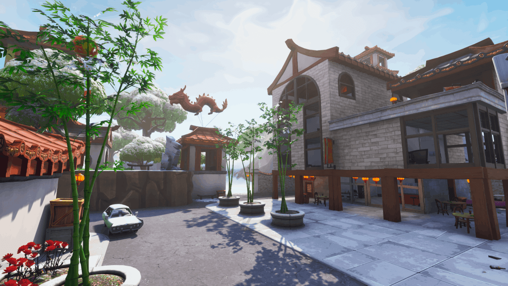 Bamboo plants and building in Lucky Landing, Fortnite season 7