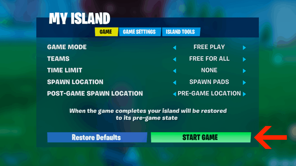 Start game in creative mode Fortnite