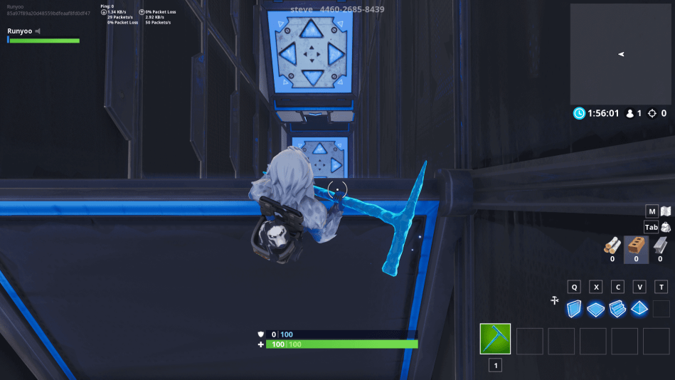 Fortnite bouncer in parkour course creative map