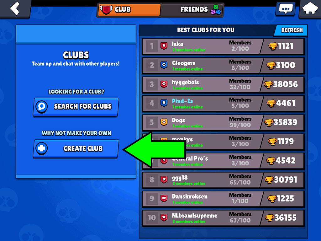 Create a club in Brawl Stars