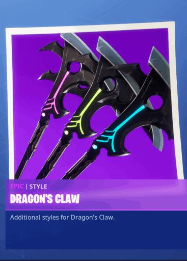 Dragon's Claw Pickaxe styles season 8 Fortnite
