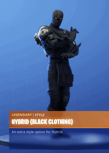 Fortnite Hybrid skin black clothing style season 8 battle pass
