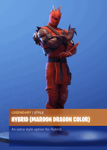 Fortnite Hybrid skin maroon dragon color style season 8 battle pass