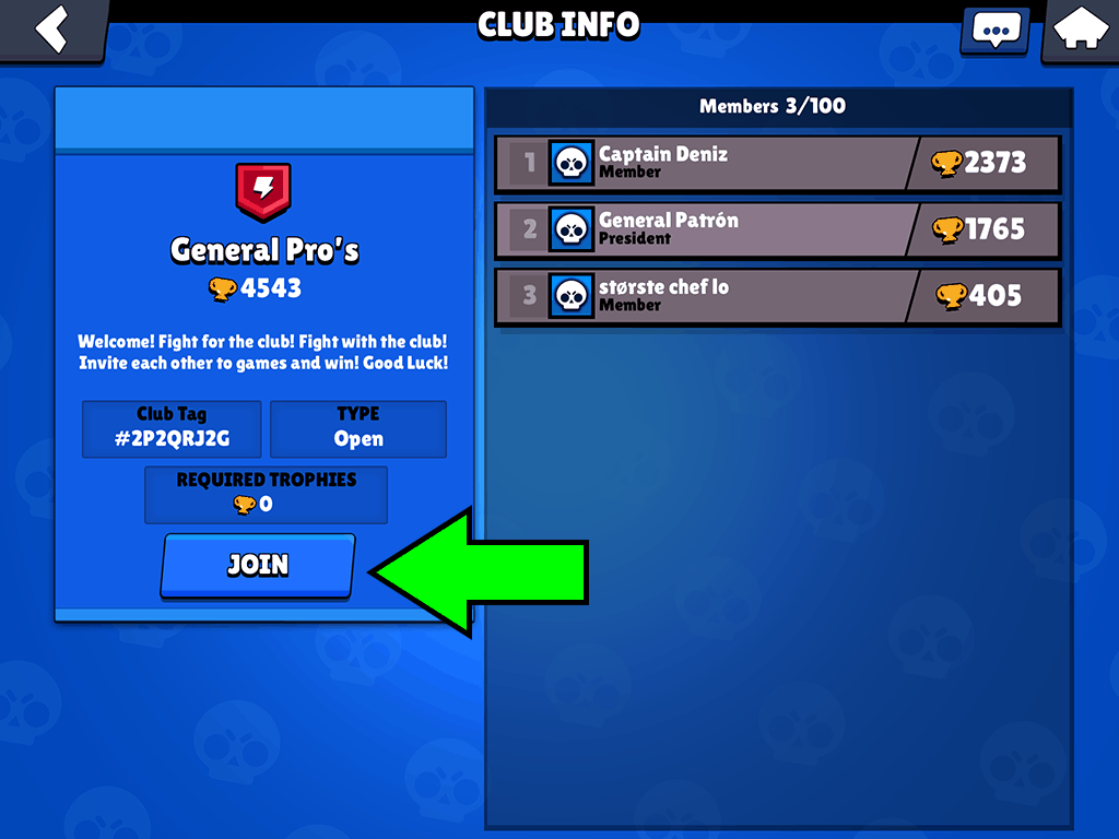 Join a club in Brawl Stars button
