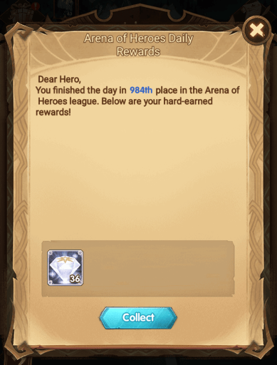 Arena of Heroes daily diamonds reward AFK Arena