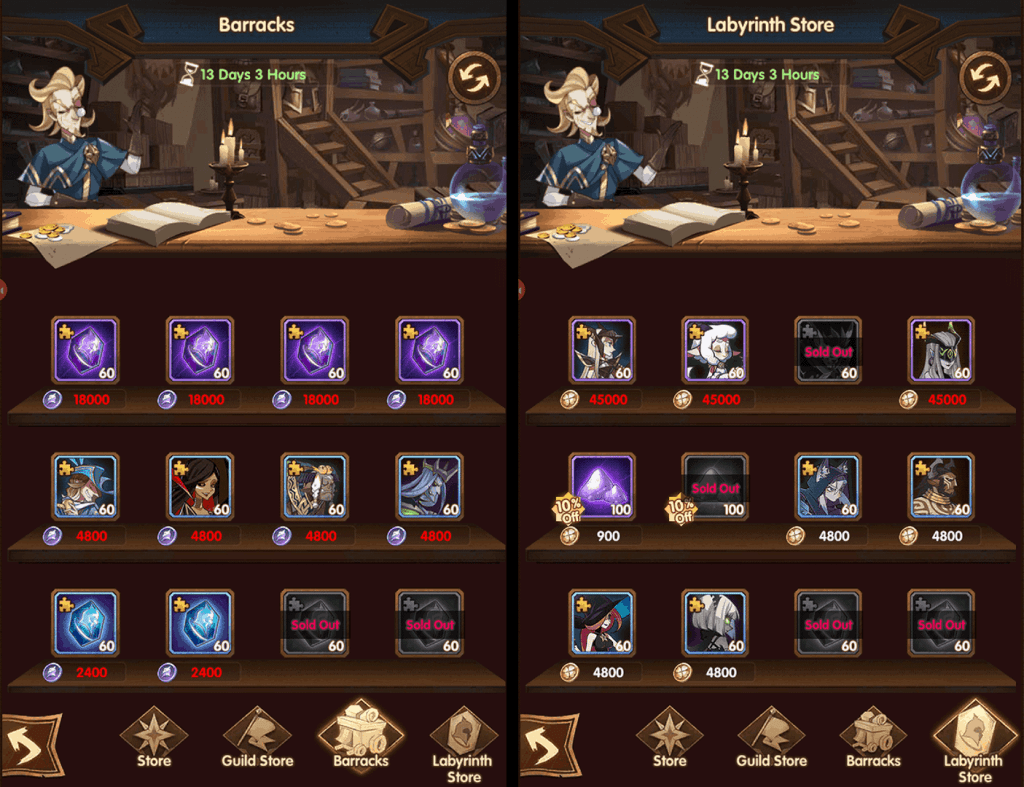 Buy heroes from store in AFK Arena