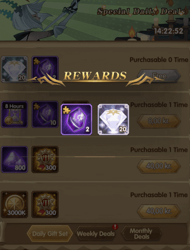 Daily free gift diamonds and soulstone AFK Arena